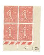 Semeuse Bloc De 4 - 50c Rouge N° YT 199 - Coin Daté 21. 3. 1928 - Coins Datés