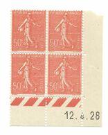 Semeuse Bloc De 4 - 50c Rouge N° YT 199 - Coin Daté 12. 4. 1928 - Coins Datés