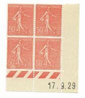 Semeuse Bloc De 4 - 50c Rouge N° YT 199 - Coin Daté 17. 8. 1929 - Coins Datés