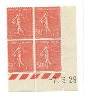 Semeuse Bloc De 4 - 50c Rouge N° YT 199 - Coin Daté 7. 8. 1929 - Coins Datés