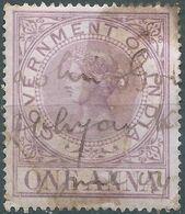 England-Gran Bretagna,British,INDIA-Revenue Stamp  Queen Victoria, Government Of India,1 Anna Used - India (...-1947)