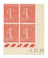Semeuse Bloc De 4 - 50c Rouge N° YT 199 - Coin Daté 3. 11. 1928 - Coins Datés