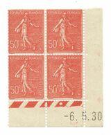 Semeuse Bloc De 4 - 50c Rouge N° YT 199 - Coin Daté 6. 5. 1930 - 1930-1939