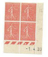 Semeuse Bloc De 4 - 50c Rouge N° YT 199 - Coin Daté 1. 4. 1930 - 1930-1939