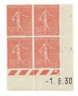 Semeuse Bloc De 4 - 50c Rouge N° YT 199 - Coin Daté 1. 8. 1930 - 1930-1939