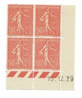 Semeuse Bloc De 4 - 50c Rouge N° YT 199 - Coin Daté 13.12. 1929 - Coins Datés