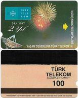 Turkey - TT - Alcatel - R Advert. Series - 2nd Annv. Of TT, Fireworks, R-103A, (SALMON COLORATION), 100U, 1997, Used - Turquie