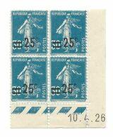 Semeuse Bloc De 4 - 25/30 Bleu N° YT 217 - Coin Daté 10. 4. 1926 - Coins Datés