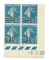 Semeuse Bloc De 4 - 25/30 Bleu N° YT 217 - Coin Daté 3. 2. 1926 - Coins Datés