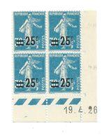 Semeuse Bloc De 4 - 25/30 Bleu N° YT 217 - Coin Daté 19. 4. 1926 - Coins Datés