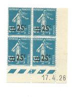 Semeuse Bloc De 4 - 25/30 Bleu N° YT 217 - Coin Daté 17. 4. 1926 - Coins Datés