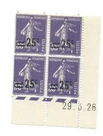 Semeuse Bloc De 4 - 25/35 Violet N° YT 218 - Coin Daté 29. 3. 1926 - Coins Datés