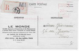 Carte Postale Recommandée Assurances Le Monde De 1948 Affranchissement EMA N°C0480 à 20 Francs - Postmark Collection (Covers)