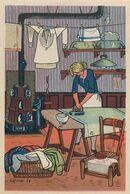 REPASSEUSE - BLANCHISSERIE - 1943 - AU PROFIT ENTRAIDE FRANCAISE - ILLUSTRATEUR Rémy HETREAU - édit GRAND LUXE LIMITEE - Artisanat