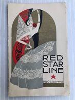 RED STAR LINE: Entertainment Programme Jazzband Series Ss Belgenland World Cruise 1926 - Menükarten