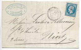 Lettre Napoléon 20 C Ruelle Sur Touvre (Cachet Perlé) Vers Niort 1862 (Tampon Alamigeon Fabrique De Papier Angoulème) - 1849-1876: Période Classique