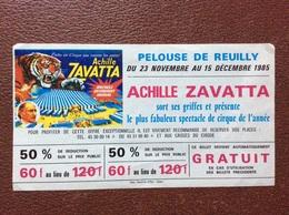 BILLET ENTRÉE  ÀMERICAN CIRCUS  Achille Zavatta Et Enis Togni *PELOUSE DE REUILLY *PALAIS OMNISPORT DE BERCY 1995 - Eintrittskarten