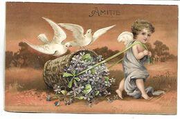 ANGE Et OISEAUX - Carte Gaufrée - Anges