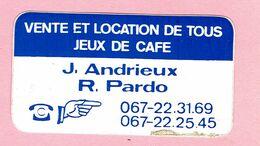 Sticker - VENTE ET LOCATION DE TOUS JEUX DE CAFE - J. Andrieux - R. Pardo (seridel Nivelles) - Autocollants