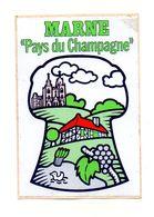 """Autocollant Marne """"Pays Du Champagne"""" - Format 12.5x8.5cm - Non Classés"""
