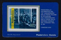 """2012 ITALIA """"150° ANNIVERSARIO POSTE ITALIANE / UFFICIO TELEGRAFICO"""" TESSERA FILATELICA - 6. 1946-.. Repubblica"""
