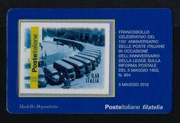 """2012 ITALIA """"150° ANNIVERSARIO POSTE ITALIANE / FURGONI POSTALI"""" TESSERA FILATELICA - 1946-.. République"""