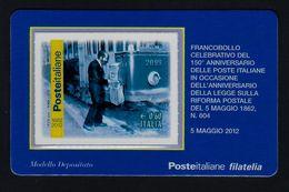 """2012 ITALIA """"150° ANNIVERSARIO POSTE ITALIANE / CASSETTA POSTALE SU TRAM"""" TESSERA FILATELICA - 1946-.. République"""