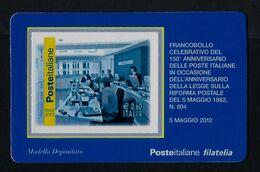"2012 ITALIA ""150° ANNIVERSARIO POSTE ITALIANE / SALA INFORMATIZZATA"" TESSERA FILATELICA - 1946-.. République"