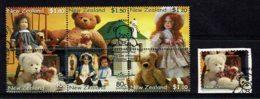 New Zealand 2000 Health - Bears & Dolls Set Of 6 + Self-adhesive Used - New Zealand