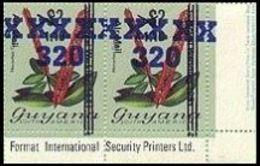 GUYANA 1983 Flowers Diana Wedding OVPT.320/1.10/$2 Narantea Guianensis CORNER.PAIR - Guyana (1966-...)