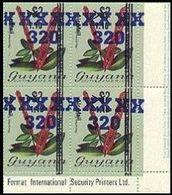GUYANA 1983 Flowers Diana Wedding OVPT.320/1.10/$2 Narantea Guianensis CORNER.4-BLOCK - Guyana (1966-...)