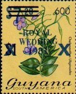GUYANA 1981 Flowers Diana Wedding BLUE OVPT:600/7.20/$2 - Guyana (1966-...)