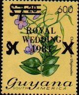 GUYANA 1981 Flowers Diana Wedding BLACK OVPT:600/7.20/$2 - Guyana (1966-...)