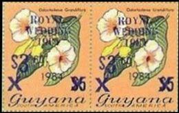 GUYANA 1981 Flowers Diana Wedding BLUE PAIR OVPT:3.60/$5 1984 - Guyana (1966-...)