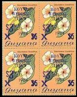 GUYANA 1981 Flowers Diana Wedding Odontadenia Grandiflora BLUE 4-BLOCK OVPT:3.60/$5 1984 - Guyana (1966-...)