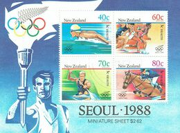 NEW ZEALAND 1988 Health Olympics M/S Used - Blocks & Sheetlets