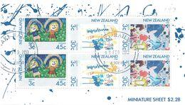 NEW ZEALAND 1986 Health Football, Skipping And At Play M/S USED - Blocks & Sheetlets