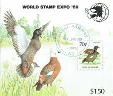 New Zealand 1989 Stamp Expo Birds M/S USED - Blocks & Sheetlets