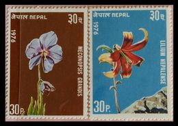 115. NEPAL (30P) 1976 (02 DIFF) STAMP FLOWERS . MNH - Nepal