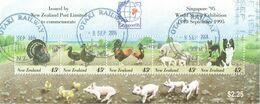 New Zealand 1995 Singapore Stamp Exhibition Farm Animals M/S USED - Blocks & Sheetlets