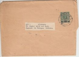 DP Türkei - 10 P. A. 5 Pfg. K/A Ganzsache Streifband Jerusalem - Striegau 1900 - Offices: Turkish Empire