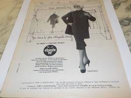 ANCIENNE PUBLICITE LE PRET A PORTER DE  WEILL  1958 - Non Classificati