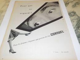 ANCIENNE PUBLICITE POUR QUI CE REGARD LES  BAS CORNUEL   1958 - Other