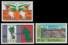 GUYANA 1983 Birthday President Burnham SPECIMEN SET:4 OVPT:ANNIV. - Guyana (1966-...)