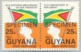 GUYANA 1983 Flags SPECIMEN Se.tenant 25c PAIR OVPT:ANNIV. - Sellos