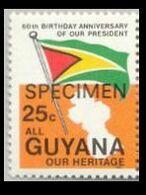 GUYANA 1983 Flags SPECIMEN Se.tenant 25c LEFT OVPT:ANNIV. - Flags