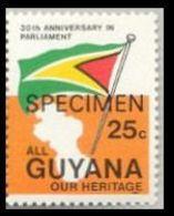 GUYANA 1983 Flags SPECIMEN Se.tenant 25c RIGHT OVPT:ANNIV. RIGHT - Flags