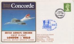 Enveloppe  ENGLAND   1er   Vol    British  Airways    CONCORDE     LONDON - OSLO    1984 - Concorde