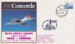 Enveloppe  NORWAY   1er   Vol    British  Airways    CONCORDE     OSLO - LONDON    1984 - Concorde