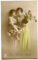 CPA - Carte Postale - Belgique - Portrait De 2 Jeunes Femmes - Fleurs - Vive Sainte Anne (D13401) - Femmes